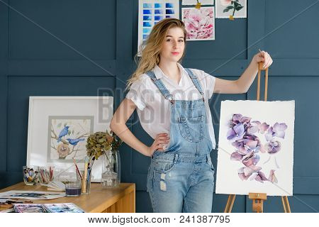 Art Hobby Creativity. Floral Design. Drawing Of A Purple Flowers And Petals. Watercolor Picture. Pro