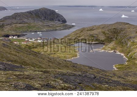 View Of Town Of Fogo, Brimstone Head And Icebergs From Rocky Hill, Fogo Island, Newfoundland