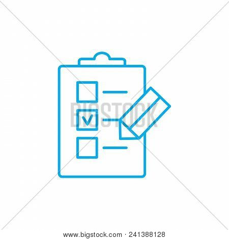 Check-list Line Icon, Vector Illustration. Check-list Linear Concept Sign.