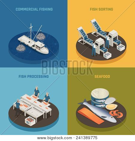 Fish industry seafood production isometric 2x2 design concept with fishing vessels plant facilities and food with text vector illustration poster
