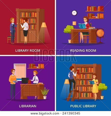Public library 4 flat orthogonal icons square with librarian assisting visitor and reading room isolated vector illustration poster