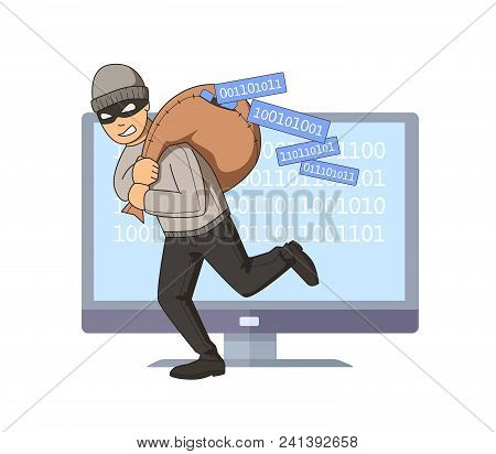 Masked Burglar Jumping Out Of Computer With Bag Full Of Code On His Shoulder. Digital Thief. Flat Ve