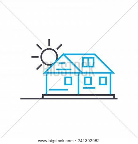 Country Cottage Area Line Icon, Vector Illustration. Country Cottage Area Linear Concept Sign.