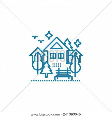Country Rest Line Icon, Vector Illustration. Country Rest Linear Concept Sign.