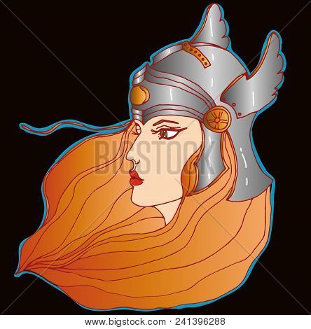 Vector Redheaded Warrior-girl In Battle Helmet On Black Background.
