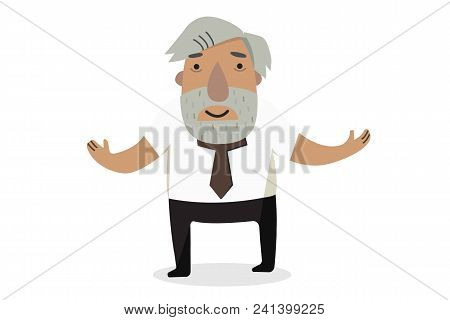 Professor Historian. Old People. Cartoon Character. Isolated Vectors.