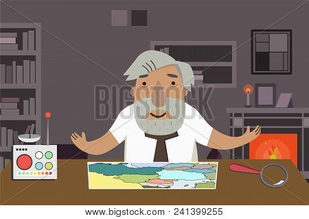 Professor-historian In The Office. Time Machine On The Table. Animated Character.