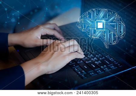 Concept Of Thinking.background With Brain Cpu Mind Series Technology Symbols  Subject Of Computer Sc