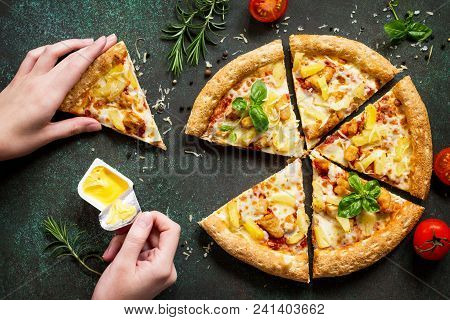 Hot Hawaiian Pizza With Chicken, Pineapple And Cheese, Hands, Taking Pieces Pizza Served With Cheese