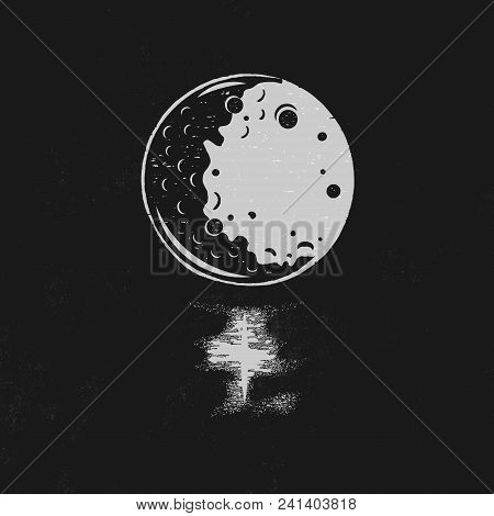 Vintage Hand Drawn Moon Illustration With Lunar Path Isolated On Black Background. Perfect For T-shi