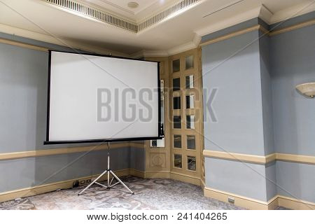 Slide Projector White Screen In The Meeting Room