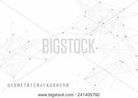 Geometric Abstract Background With Connected Line And Dots. Graphic Background For Your Design. Vect