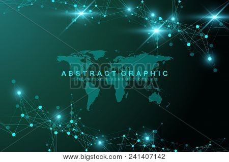 Geometric Abstract Background With Connected Line And Dots. Graphic Background With World Map For Yo