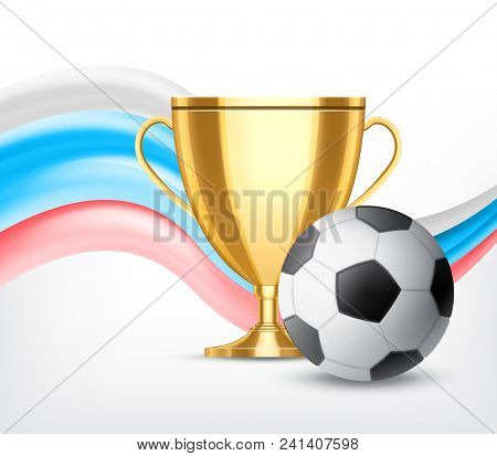 Golden Cup With Soccer Ball Isolated On White Background. Soccer World Cup Concept. Vector Icon. Eps