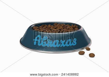 Blue Doggy Bowl With Name Abraxas Of Dog Isolated On White