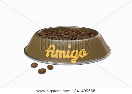 Brown Doggy Bowl With Name Amigo Of Dog Isolated On White