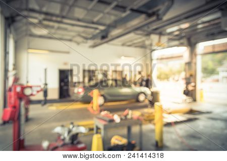 Vintage Blurred Car At Auto Repair In Usa