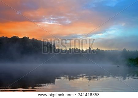 Beautiful Morning Landscape, Morning Mist Over The River, Morning Peace And Quiet On The River In Th