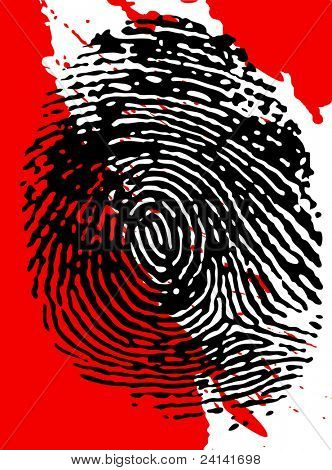 Vector - Fingerprint overlaid on a blood splattered background