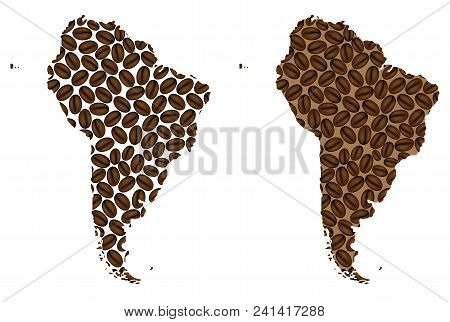 South America -  Map Of Coffee Bean, South America Map Made Of Coffee Beans,