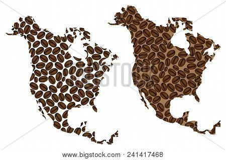 North America -  Map Of Coffee Bean, North America Map Made Of Coffee Beans,