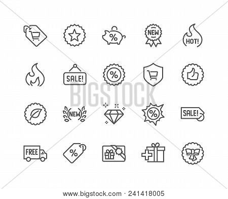 Simple Set Of Shopping Features Related Vector Line Icons. Contains Such Icons As New, Sale, Discoun