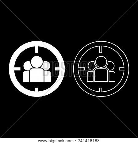 People In Target Or Target Audience Icon Set White Color Vector Illustration Flat Style Simple Image