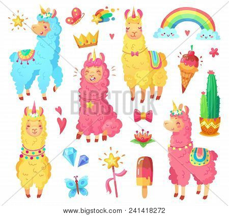 Funny Fairytale Cute Mexican Smiling Colorful Yellow, Pink, Blue Alpaca With Fluffy Wool And Cute Ra