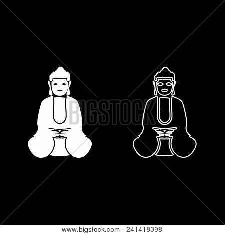 Buddha Icon Set White Color Vector Illustration Flat Style Simple Image Outline