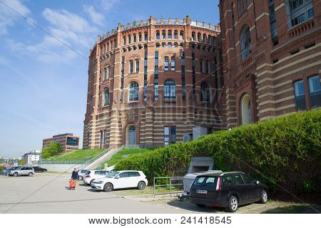 Vienna, Austria - April 27, 2018: Buildings Of The Vienna Gasometers In The Sunny Day