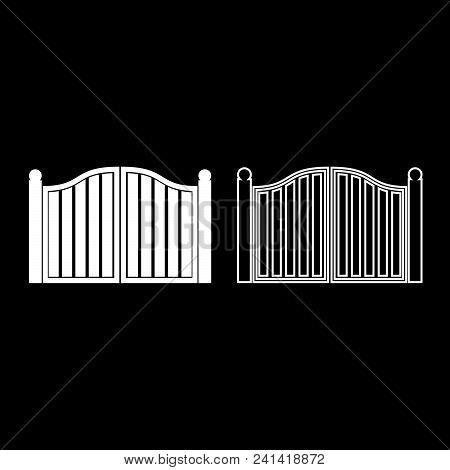 Old Gate Icon Set White Color Vector Illustration Flat Style Simple Image Outline