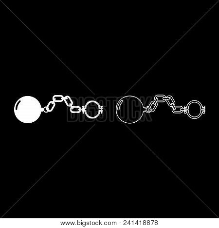 poster of Shackles with ball icon set white color illustration flat style simple image outline