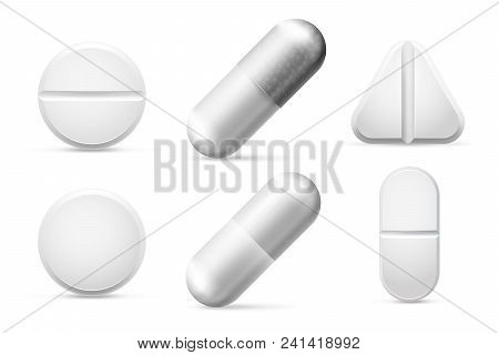 Medicine round white cure pills, aspirin, antibiotics, vitamin and painkiller drugs. Pain treatment capsule pill and pharmaceutical tablet drug chemical science close-up vector set isolated poster