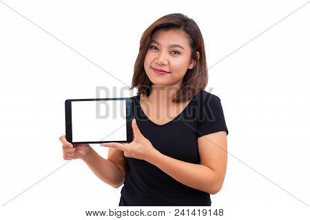 Young Asian Woman Black Hair Holding Tablet Computer. Woman Using Blank Screen Digital Tablet Comput