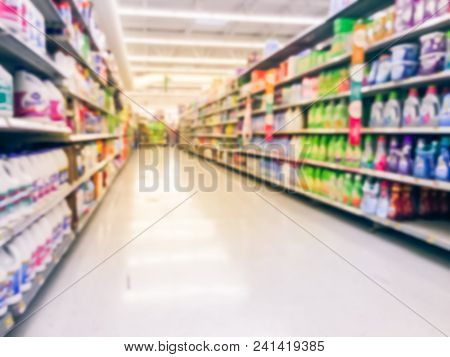 Abstract Blurred Laundry Detergent Products At Retail Store In Usa