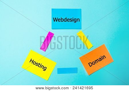 Webdesign Hosting, Domain Connected, An Inscription On Colored Stickers, A Web Site Structure