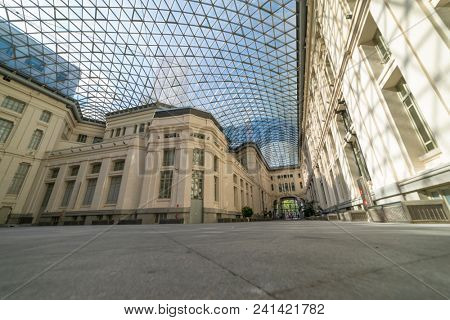 MADRID, SPAIN - MAY 15, 2018: The Glass Gallery (Cibeles Palace) in Madrid. The gallery is a multifunctional space covering an area of 2,800 square metres, enclosed by means of glass structure.