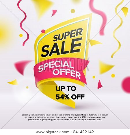 Flash Sale Bright Banner Design Template. Special Offer, Discounts Up To 54%. Flat Fashionable Geome