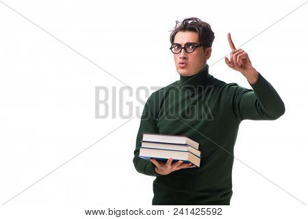 Nerd young student with books isolated on white