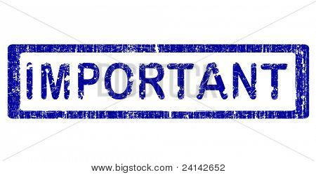Grunge Office Stamp with the words IMPORTANT in a grunge splattered text. (Letters have been uniquely designed and created by hand)