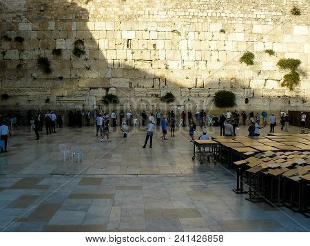 Jerusalem Israel May 17, 2018 Unknowns People Praying Front The Western Wall In The Old City Of Jeru