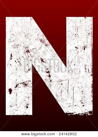 Fat Grunged Letters - N (Highly detailed grunge letter)