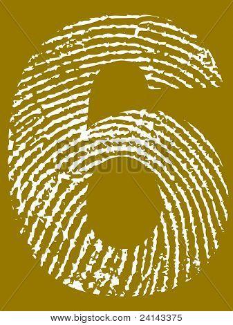 Fingerprint Number - 6 (Highly detailed grunge Number)