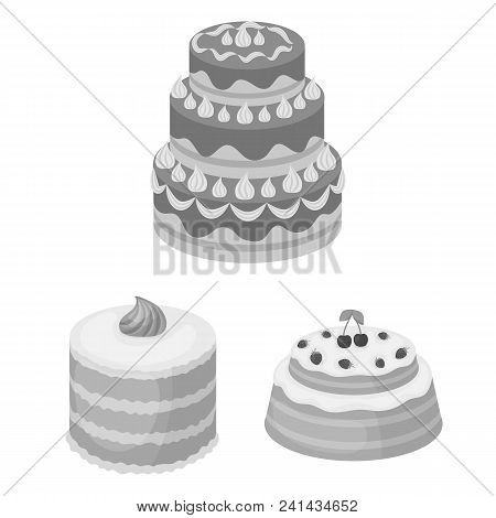 Cake And Dessert Monochrome Icons In Set Collection For Design. Holiday Cake Vector Symbol Stock  Il