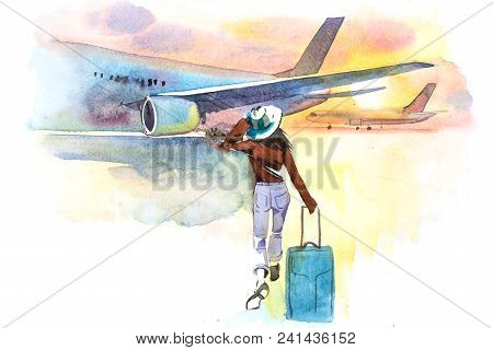 Woman Traveler Boarding Airplane, Rear View. Departure. Girl At An Airport About To Board An Aircraf