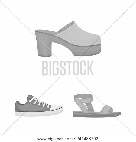 A Variety Of Shoes Monochrome Icons In Set Collection For Design. Boot, Sneakers Vector Symbol Stock