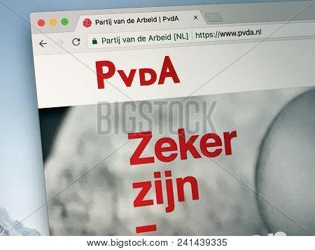 Amsterdam, Netherlands - May 20, 2018: Website Of The Labour Party (dutch: Partij Van De Arbeid, Pvd