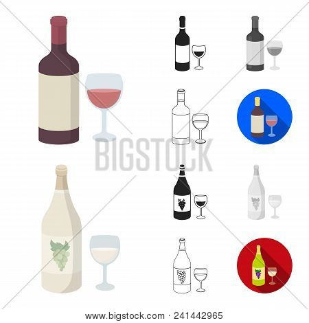 Types Of Alcohol Cartoon, Black, Flat, Monochrome, Outline Icons In Set Collection For Design. Alcoh