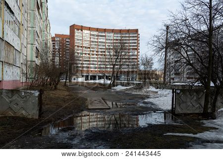 Yoshkar-ola, Russia - April 9, 2018 View Of The Sleeping Area Of Yoshkar-ola In The Spring Period