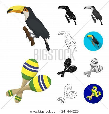 Country Brazil Cartoon, Black, Flat, Monochrome, Outline Icons In Set Collection For Design. Travel